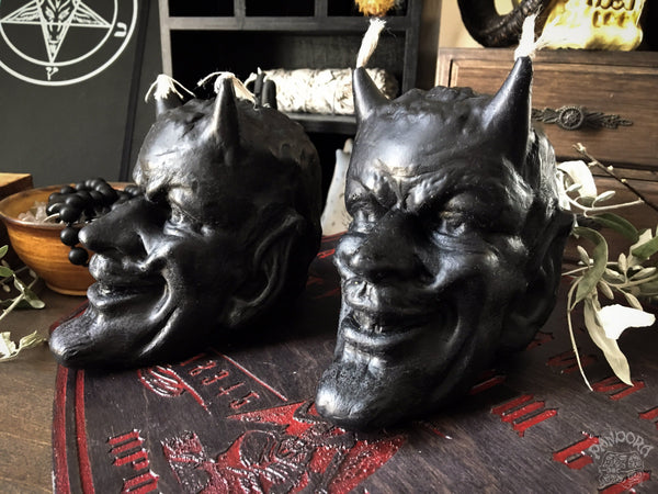 Candle - Devil's Head - Black - Beeswax Candle