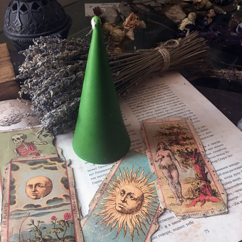 Candle - Green Cone - Beeswax Candle