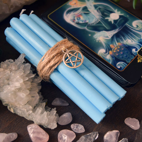 Candle - Light Blue Beeswax Candles
