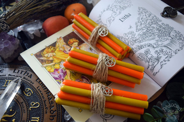 Candle - Litha - Wheel Of The Year - Set Of Beeswax Candles