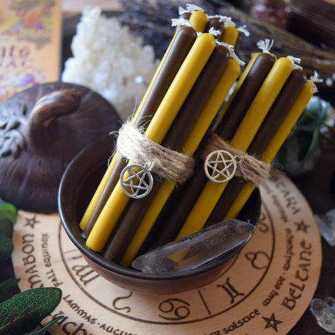 Candle - Lughnasadh, Lammas - Wheel Of The Year - Set Of Beeswax Candles
