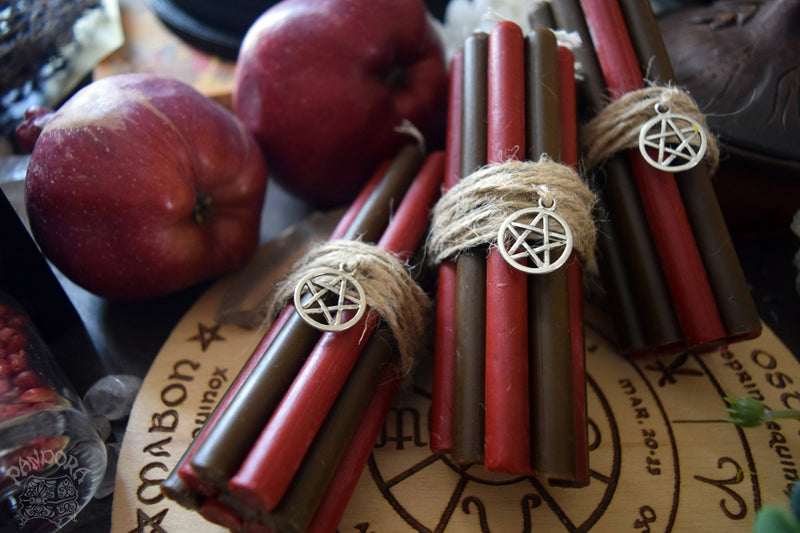 Candle - Mabon - Wheel Of The Year - Set Of Beeswax Candles