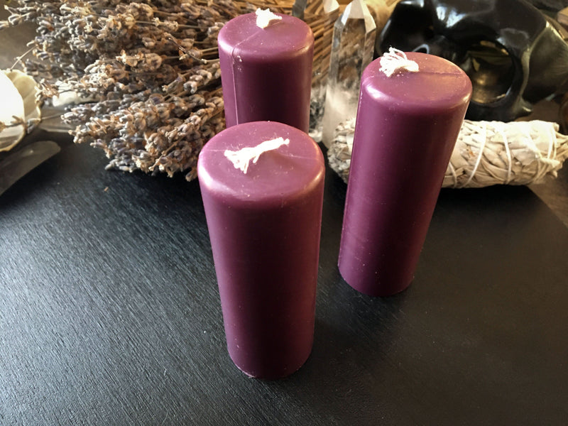 Candle - Purple Cylinder - Beeswax Candle