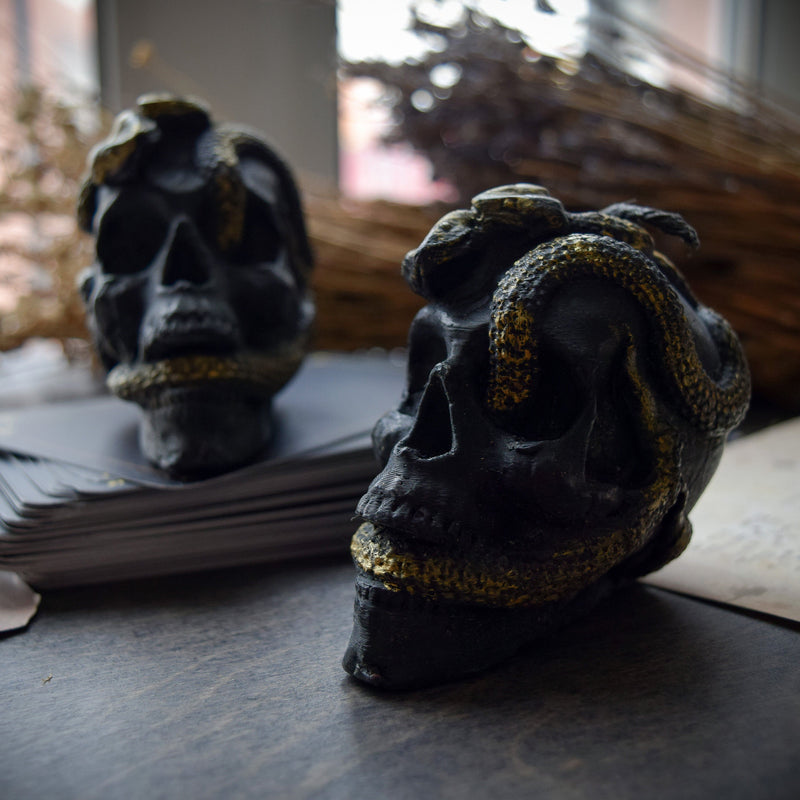 Skull with snakes - Beeswax candle