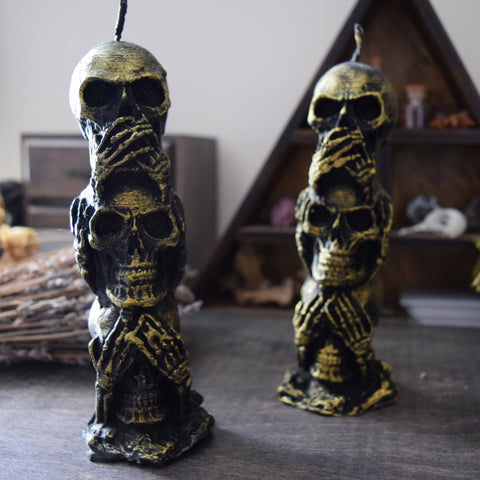 Candle - Trio Of Evil - Beeswax Candle