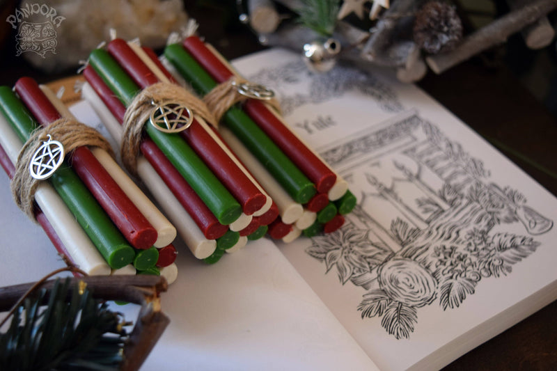 Candle - Yule - Wheel Of The Year - Set Of Beeswax Candles