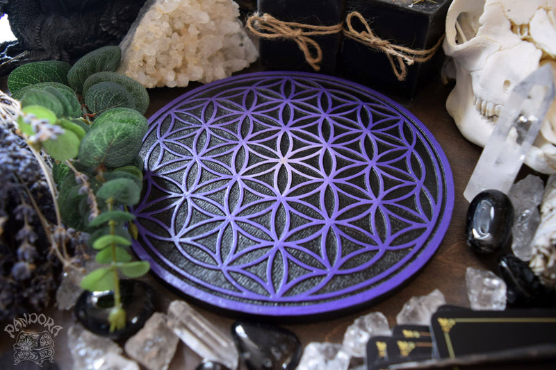 Crystal Grid Flower Of Life, Flower Pythagoras - Black\Purple
