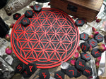 Crystal Grid Flower Of Life, Flower Pythagoras - Black\Red