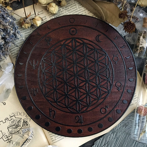 Crystal Grid Flower Of Life, Flower Pythagoras - Moon - Red Wood\Black