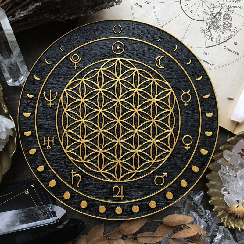 Crystal Grid - Moon Flower of Life - Black\Gold