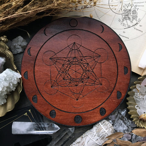 Crystal Grid - Moon Metatrons Cube - Red Wood
