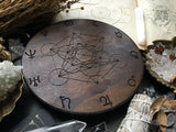 Crystal Grid - Planetary Metatrons Cube - Dark Wood