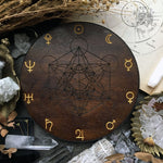 Crystal Grid - Planetary Metatrons Cube - Dark Wood\Gold