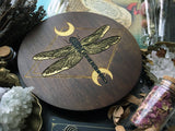 Dragonfly - Altar Pentacle - Dark Wood\Gold