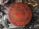 Elder Futhark Runes - Uroboros - Red Wood