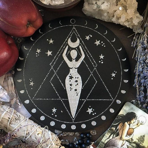 Goddess  - Altar Pentacle - Black\Silver
