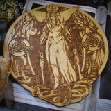 Wooden pentacle with engraving goddess Hecate (Hekate) from  ancient Greek religion and mythology. Great goddess of witchcraft, crossroads, light, magic, knowledge and sorcery.