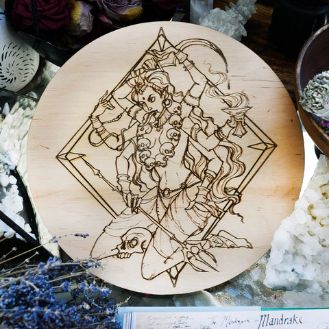 Wooden pentacle with engraving Kali - Hindu goddess (Devi) of Death, Time, Creation, Destruction and Power. Also known as Kālikā or Shyāmā.