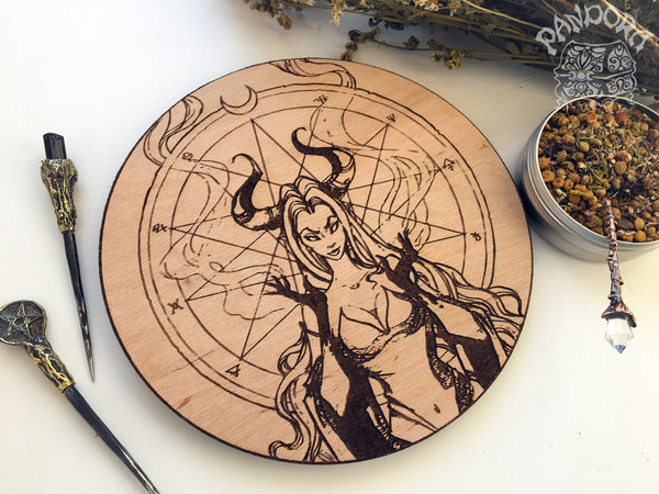Wooden pentacle with engraving dark goddess Lilith. Often envisioned as a dangerous female demon.