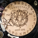 Wooden Ouija Board, Witch Board, Talking Board for calling spirits with Irene Horrors art Black Phillip, Baphomet, Samael, Lucifer, Satan, Devil