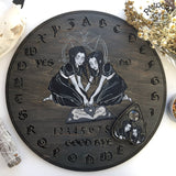 Wooden Ouija Board, Witch Board, Talking Board for calling spirits with Irene Horrors art Creepy Twins
