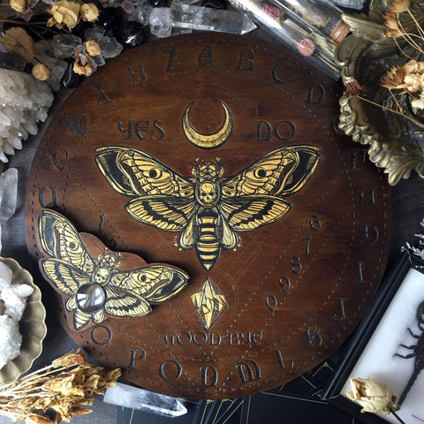 Ouija Board, Witch Board, Talking Board for calling spirits with Death's head moth
