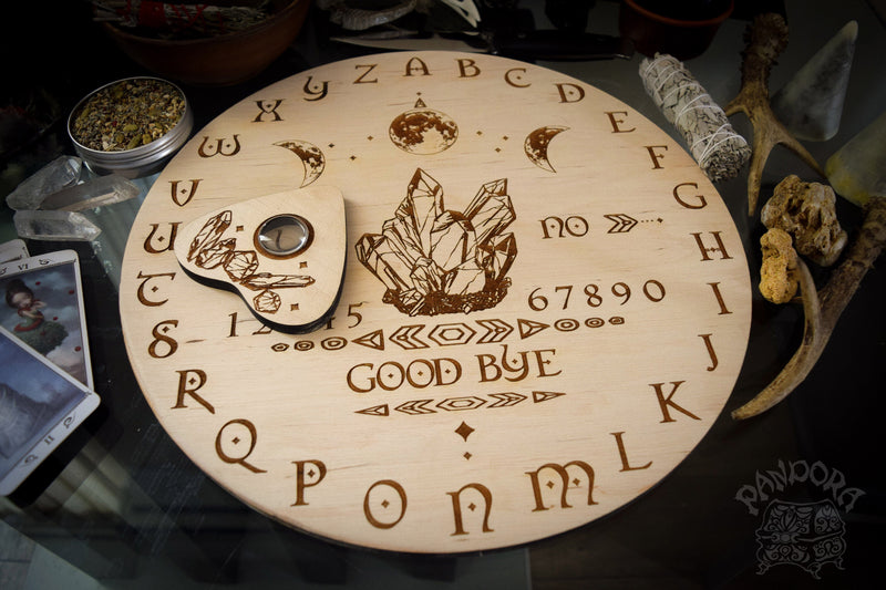 Wooden Ouija Board, Witch Board, Talking Board for calling spirits with Crystals