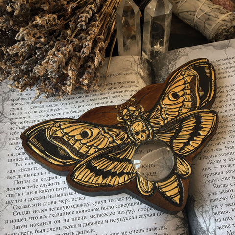 Ouija Planchette - Planchette - Golden Death's Head Moth Dark Wood