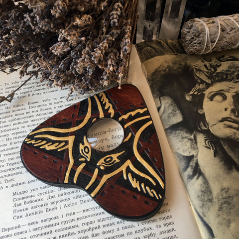 Ouija Planchette - Planchette - Lucifer - Red Wood