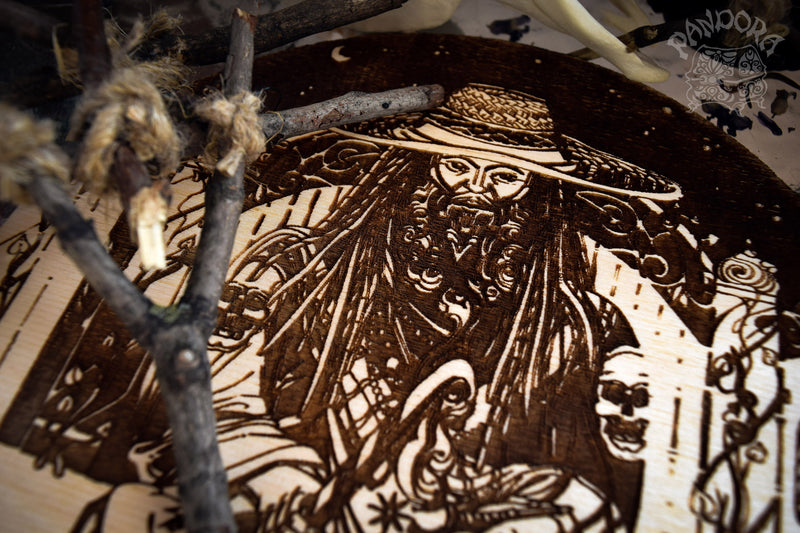 Wooden pentacle with engraving Papa Legba and his Veve. Papa Legba - Lord of spiritual crossroads - Loa from Haitian Vodou (voodoo) who serves as the intermediary between the loa and humanity.