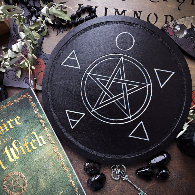 Pentagram, Elements. - Altar Pentacle - Black\Silver