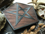 Pentagram Rhombus - Altar Pentacle - Red Wood\Black