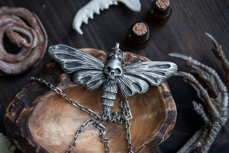"Silver Pendant ""Death's Head Moth"""