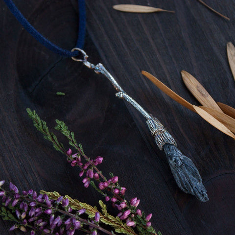 "Silver Pendant ""Witch's Broom"""
