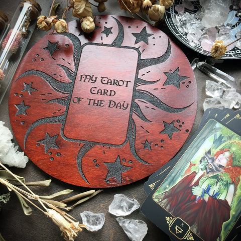 Tarot Spread Board - Tarot Board Card Of The Day - Red Wood