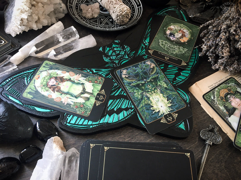 Tarot Board Three Card Spread - EMERALD DEATH'S HEAD MOTH