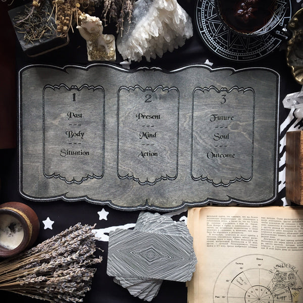 Tarot Board Three Card Spread- Gray wood