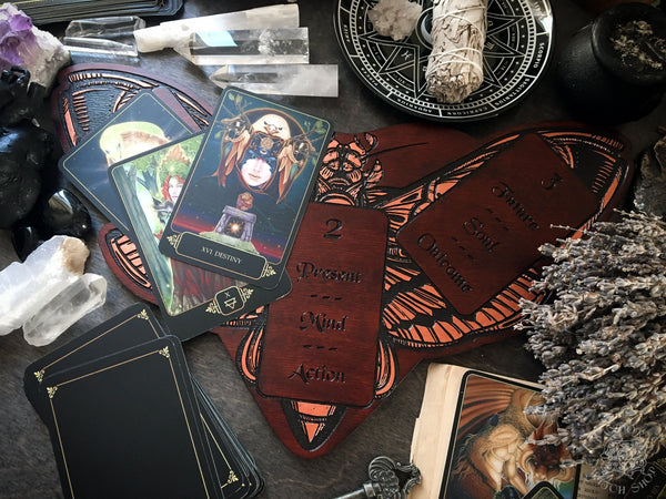 Tarot Board Three Card Spread - RED DEATH'S HEAD MOTH