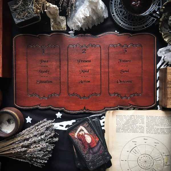 Tarot Board Three Card Spread- Red wood