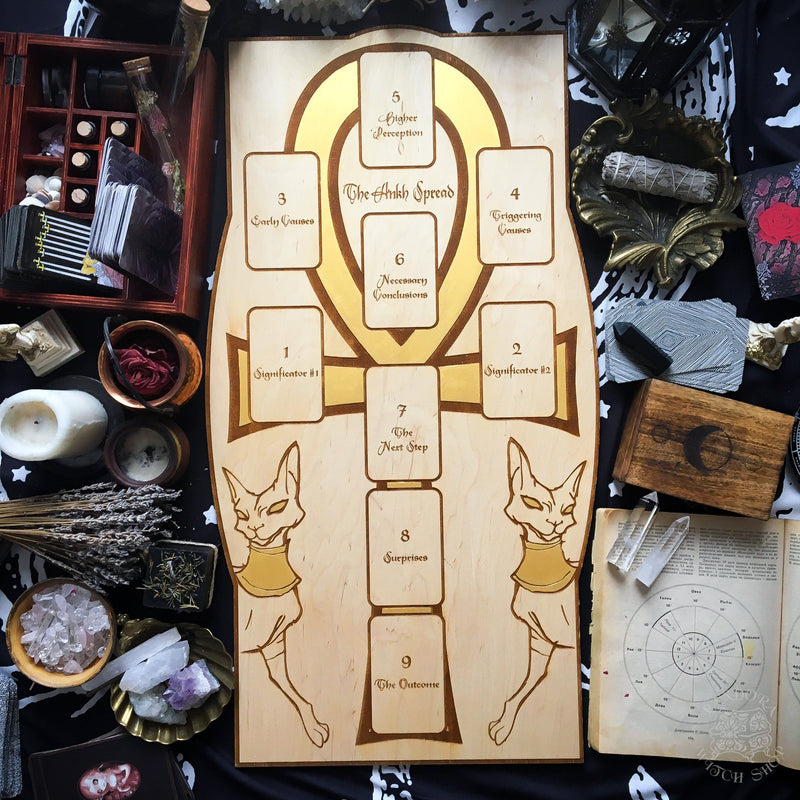 Tarot Spread Board Ankh - Gold