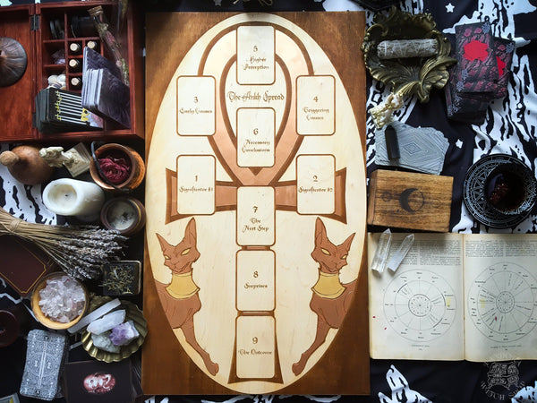 Tarot Spread Board Ankh II - Copper