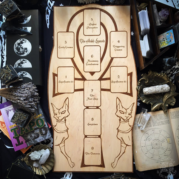 Tarot Spread Board Ankh - Natural