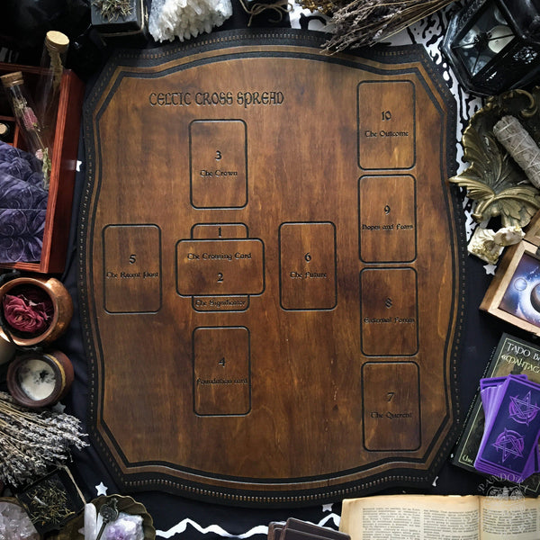 Tarot Spread Board Celtic Cross - Dark wood