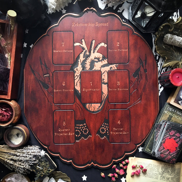 Tarot Spread Board Relationship - Copper Heart