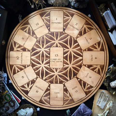 Tarot Spread Board - Tarot Spread Board Wheel Of The Year - Natural