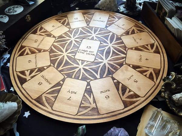 Tarot Spread Board Wheel of the Year - Natural