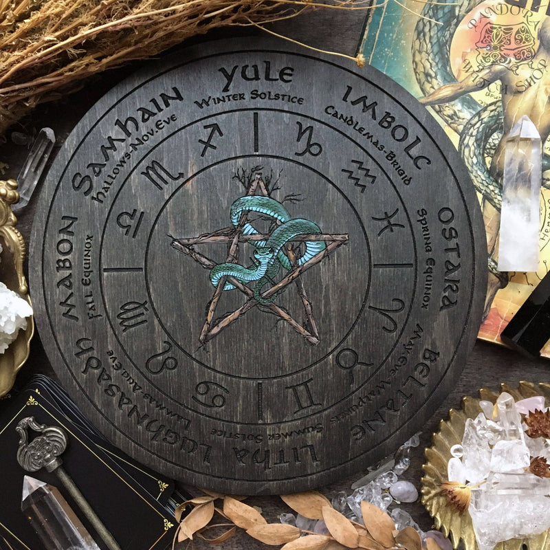 Wheel of the Year - Snake Pentagram Zodiac - Gray wood+full color