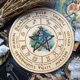 Wheel Of The Year - Wheel Of The Year - Snake Pentagram Zodiac - Natural Wood+full Color