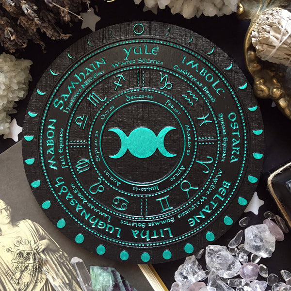 Wheel of the Year - Triple Moon Circle - Black\Emerald