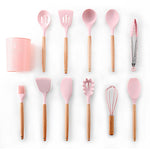9 or 12pcs Pink Cooking Tools Set Premium Silicone Kitchen Cooking Utensils Set with Storage Box Turner Tongs Spatula Soup Spoon